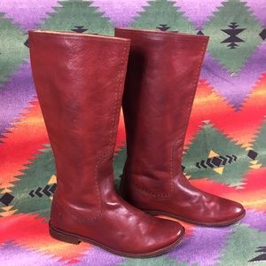Frye Red Studded Knee Length Boots